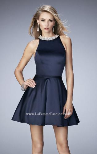 Picture of: Short Stretch Satin Dress with Pearl and Diamond Neckline, Style: 22212, Detail Picture 1