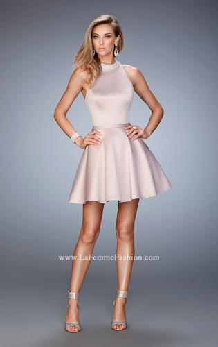 Picture of: Short Stretch Satin Dress with Pearl and Diamond Neckline, Style: 22212, Detail Picture 2