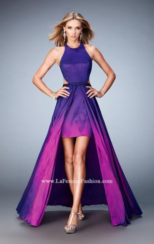 Picture of: Taffeta High-Low Prom Dress with Unique Ombre Effect, Style: 22328, Detail Picture 1