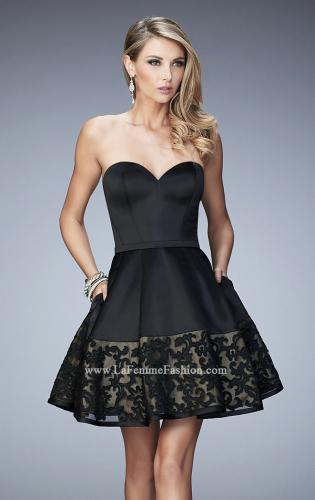 Picture of: Short Satin Dress with Lace Hem and Pockets, Style: 22330, Main Picture