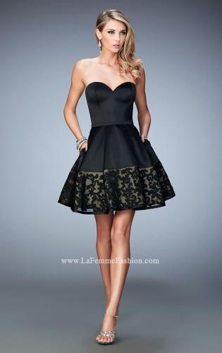 Picture of: Short Satin Dress with Lace Hem and Pockets, Style: 22330, Detail Picture 1