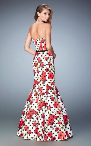 Picture of: Jacquard Mermaid Dress with Flower and Polka Dot Print, Style: 22348, Back Picture