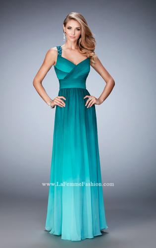 Picture of: Ombre Chiffon Prom Dress with Crystal Encrusted Straps, Style: 22432, Main Picture