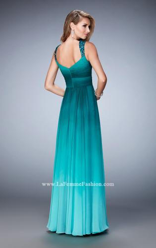 Picture of: Ombre Chiffon Prom Dress with Crystal Encrusted Straps, Style: 22432, Back Picture
