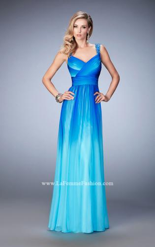 Picture of: Ombre Chiffon Prom Dress with Crystal Encrusted Straps, Style: 22432, Detail Picture 1