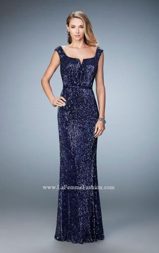 Picture of: Long Sequin Evening Gown with Square Neck and Belt, Style: 22445, Detail Picture 1