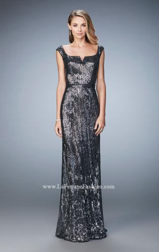 Picture of: Long Sequin Evening Gown with Square Neck and Belt, Style: 22445, Detail Picture 2