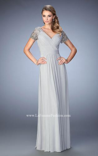 Picture of: Jersey Prom Dress with Lace Sleeves and Pleated Bodice, Style: 22474, Main Picture