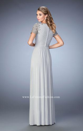 Picture of: Jersey Prom Dress with Lace Sleeves and Pleated Bodice, Style: 22474, Back Picture