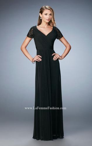 Picture of: Jersey Prom Dress with Lace Sleeves and Pleated Bodice, Style: 22474, Detail Picture 1
