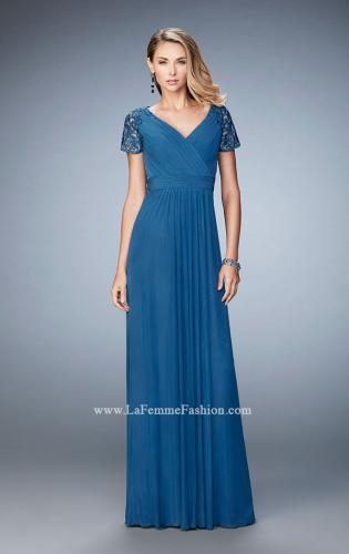 Picture of: Jersey Prom Dress with Lace Sleeves and Pleated Bodice, Style: 22474, Detail Picture 2
