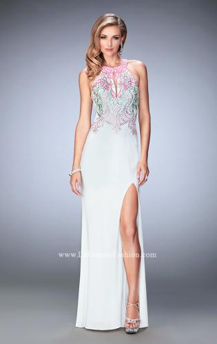 Picture of: Embroidered Jersey Prom Dress with Rhinestones, Style: 22580, Detail Picture 1