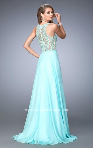 Picture of: Chiffon Prom Gown with Leaf Embroidery, Style: 22586, Back Picture
