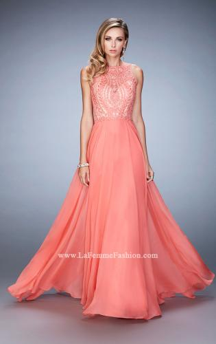 Picture of: Chiffon Prom Gown with Leaf Embroidery, Style: 22586, Detail Picture 1