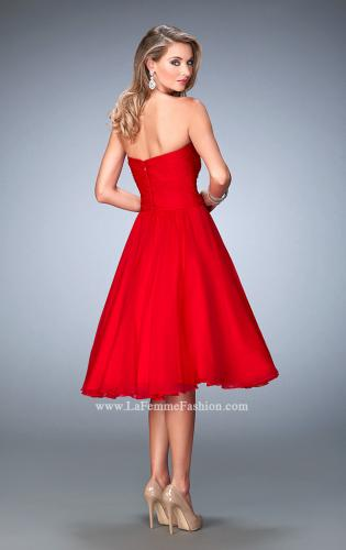 Picture of: Tea Length Party Dress with Gathered Bodice, Style: 22638, Back Picture