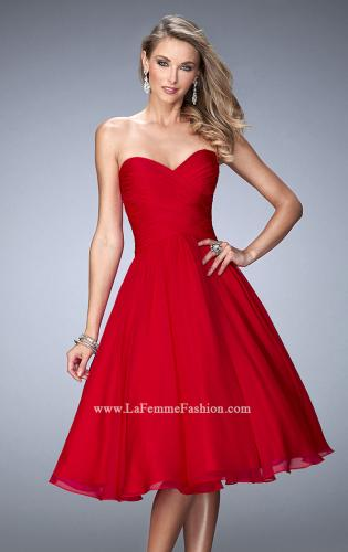 Picture of: Tea Length Party Dress with Gathered Bodice, Style: 22638, Detail Picture 2