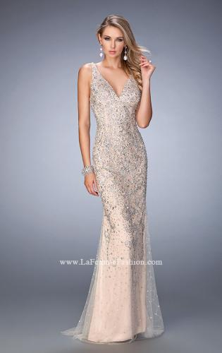 Picture of: Long Embellished Tulle Prom Gown with Sheer Back, Style: 22644, Main Picture