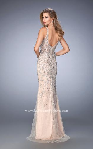 Picture of: Long Embellished Tulle Prom Gown with Sheer Back, Style: 22644, Back Picture