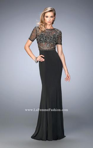 Picture of: Beaded Jersey Prom Dress with Sheer Bodice and Train, Style: 22647, Back Picture