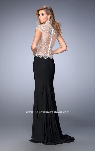 Picture of: Long Jersey Dress with Beading and Side Leg Slit, Style: 22648, Back Picture