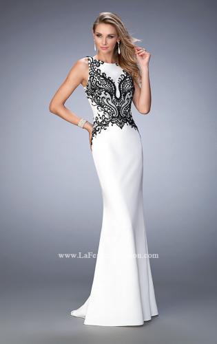 Picture of: Jersey Prom Dress with Train and Keyhole Back, Style: 22654, Main Picture