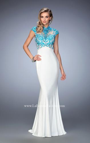 Picture of: Long Jersey Gown with mock Neck and Embroidery, Style: 22657, Main Picture