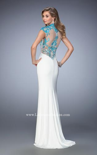 Picture of: Long Jersey Gown with mock Neck and Embroidery, Style: 22657, Back Picture