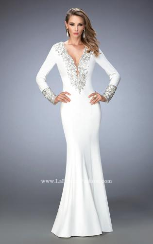 Picture of: Long Sleeve Embellished Jersey Prom Dress, Style: 22714, Main Picture