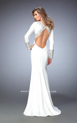 Picture of: Long Sleeve Embellished Jersey Prom Dress, Style: 22714, Back Picture
