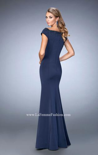 Picture of: Off the Shoulder Prom Dress with Beaded Neckline, Style: 22716, Back Picture