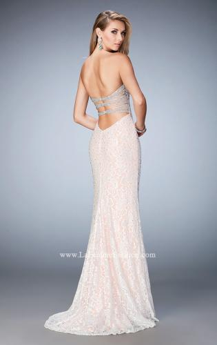 Picture of: Long Lace Prom Gown with Plunging Neckline, Style: 22759, Back Picture