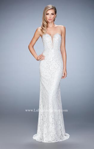 Picture of: Long Lace Prom Gown with Plunging Neckline, Style: 22759, Detail Picture 1