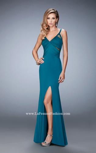 Picture of: Jersey Prom Dress with Satin Panels and Sheer Detail, Style: 22770, Detail Picture 2