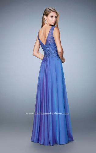 Picture of: Lace Illusion Prom Dress with Embroidered Bodice, Style: 22783, Back Picture