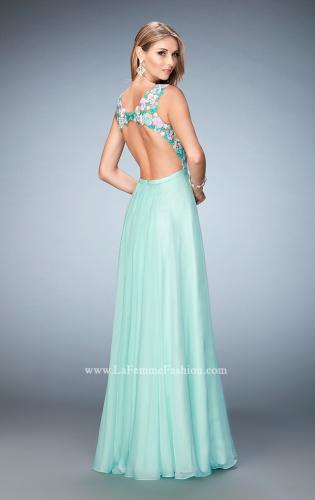Picture of: Multicolored Floral Lace Embellished Long Prom Dress, Style: 22804, Back Picture