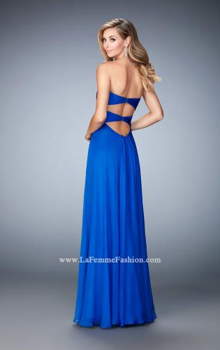Picture of: Gathered Chiffon Prom Gown with Sweetheart Neck, Style: 22815, Back Picture