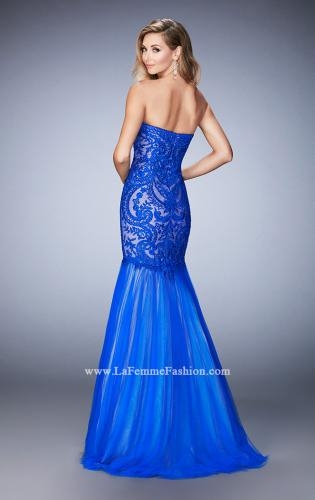 Picture of: Rhinestone Embroidered Prom Gown with Tulle Skirt, Style: 22836, Back Picture