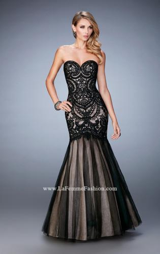 Picture of: Rhinestone Embroidered Prom Gown with Tulle Skirt, Style: 22836, Detail Picture 1