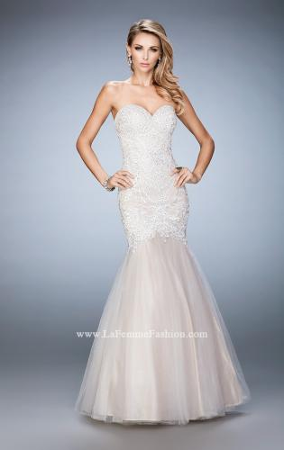 Picture of: Rhinestone Embroidered Prom Gown with Tulle Skirt, Style: 22836, Detail Picture 2