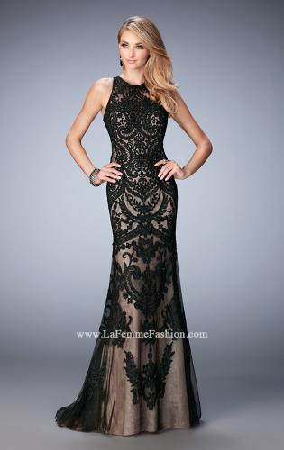 Picture of: Rhinestone Prom Dress with Sheer Neckline and Train, Style: 22837, Main Picture