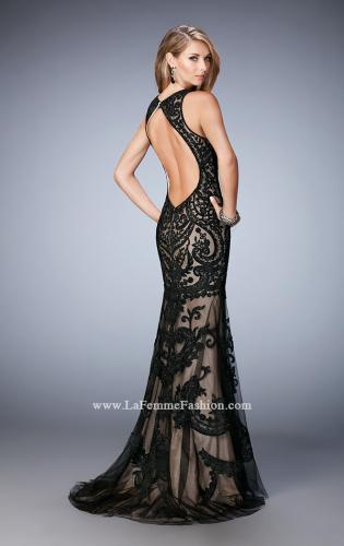 Picture of: Rhinestone Prom Dress with Sheer Neckline and Train, Style: 22837, Back Picture