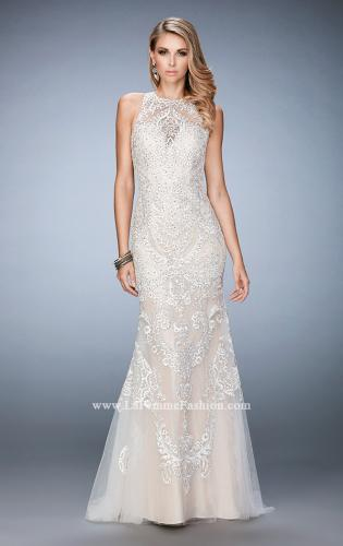 Picture of: Rhinestone Prom Dress with Sheer Neckline and Train, Style: 22837, Detail Picture 1