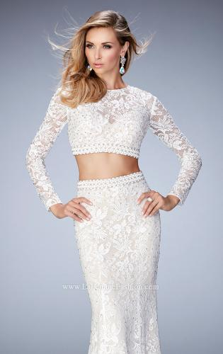 Picture of: Two Piece Lace Dress with Sheer Detail and Train, Style: 22871, Main Picture