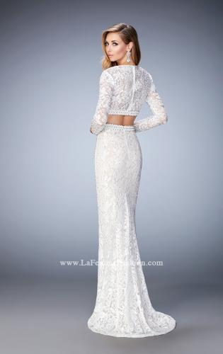 Picture of: Two Piece Lace Dress with Sheer Detail and Train, Style: 22871, Back Picture