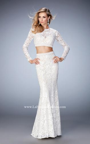 Picture of: Two Piece Lace Dress with Sheer Detail and Train, Style: 22871, Detail Picture 1
