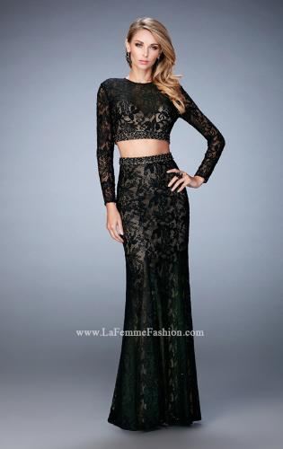Picture of: Two Piece Lace Dress with Sheer Detail and Train, Style: 22871, Detail Picture 2