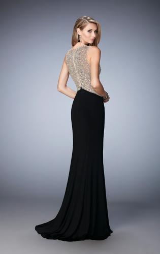 Picture of: Jersey Prom Gown with Train and Sheer Neckline, Style: 22886, Back Picture