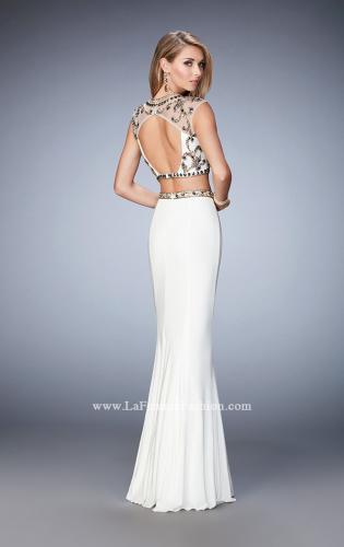 Picture of: Two Piece Prom Dress with Cap Sleeves and Beading, Style: 22891, Back Picture