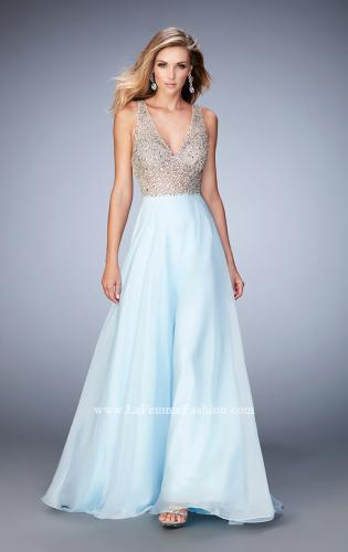"Picture of: Long Chiffon Gown with ""V"" Neck and Open Back, Style: 22897, Main Picture"
