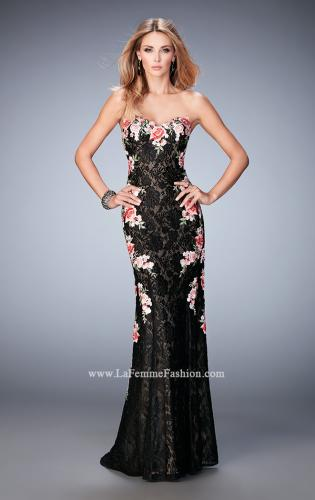 Picture of: Long Lace Prom Gown with Floral Applique and Train, Style: 22914, Main Picture
